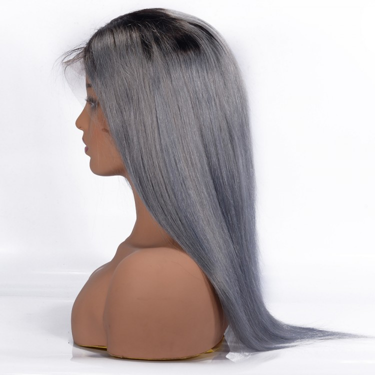 Pre-plucked Straight Lace Front Wig T1B/Grey 100% Human Hair Wigs