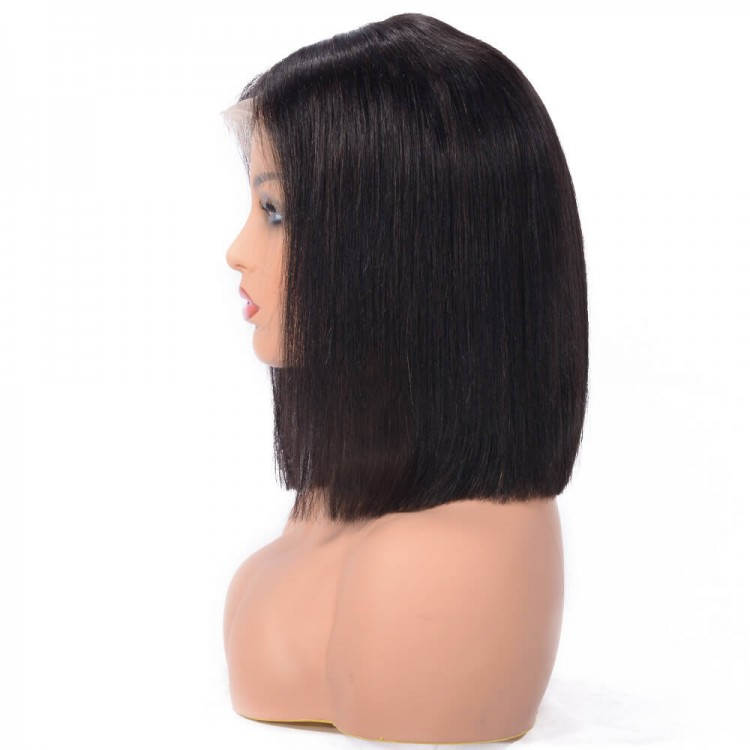 Human Hair Straight Blunt Cut Lace Front Bob Wigs