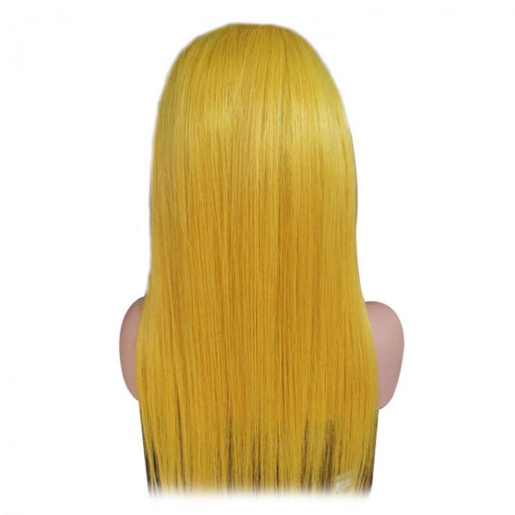 T1B/Yellow Full Lace Human Hair Straight Ombre Wigs