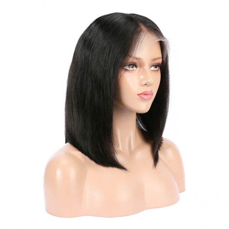 Middle Part Short Straight Lace Front Bob Wig