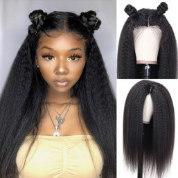 Dsoar Hair Kinky Straight Invisible HD 13x6 Lace Front Wigs Pre Plucked Long Yaki Straight Human Hair Wigs