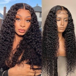 Dsoar Hair Jerry Curly 13x6 HD Lace Front Wig Human Hair Pre Plucked with Baby Hair Natural Black Color