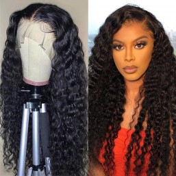 DSoar Hair 13x4 Pre Plucked Deep Wave Human Hair Lace Front Wigs With Baby Hair