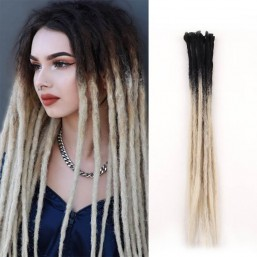 DSoar Ombre Black/Blonde 2-26 Color Crochet Dreads Hair Synthetic Dreadlocks Extensions 24Inch