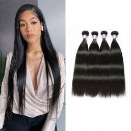 DSoar Virgin Remy Indian Straight Hair 4 Bundles hair weave Natural black 8-32 inch
