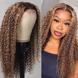 DSoar Hair Honey Blonde Highlight 13x4 Lace Front Jerry Curly Human Hair Wigs
