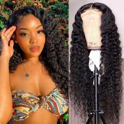 Dsoarhair Deep Wave 4x4 Lace Closure Wig Real Human Hair Wigs Pre-plucked With Natural Hairline For Sale