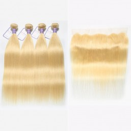 4Pcs 613 Blonde Hair Bundles With Lace Frontal