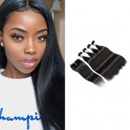 DSoar Straight hair Indian remy hair 4 bundle deals with lace closure