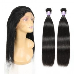 Indian Straight Virgin Human Hair 2 Bundles with 360 Lace Frontal