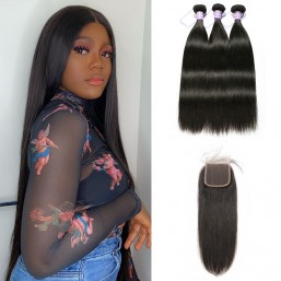 Malaysian human hair bundles with Closure