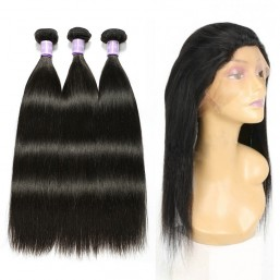Indian Straight Hair 3 Bundles With 360 Lace Frontal