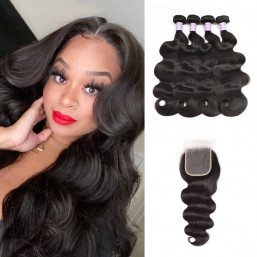 4 bundles and transparent lace closure