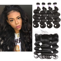DSoar Hair 4 Bundles Body Wave Hair Weave With 4x13 Lace