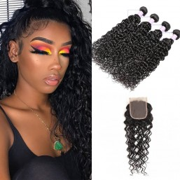 4 bundles natural wave hair with closure