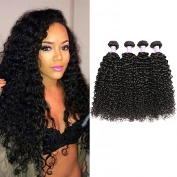 DSoar 4 Bundles Virgin Peruvian Hair Curly Human Hair Extensions