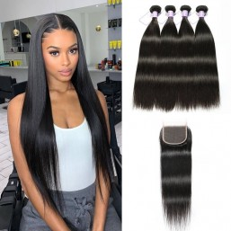 4 bundles with transparent lace closure