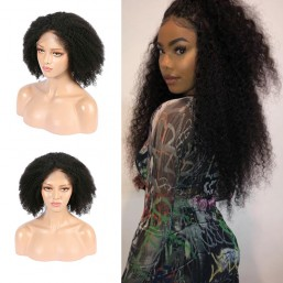 Short Light Yaki Curly Wig Human Hair Free Part