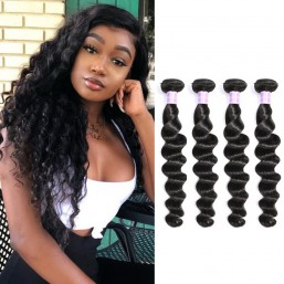 DSoar Hair Loose Deep Brazilian Hair 4 Bundle Deals Human Hair Weaves