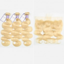 Body Wave 613 Blonde 3 Bundles With Frontal