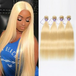 4 Bundles Brazilian Straight 613 Hair Weave Beautiful Blonde Hair