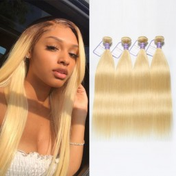 613 Weave Blonde Hair 4 Bundles Straight Peruvian Hair