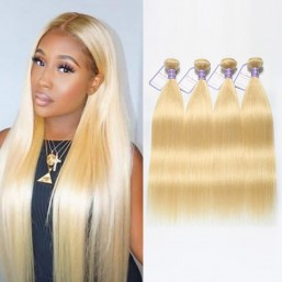 613 Blonde Virgin Hair 4 Bundles Malaysian Straight Hair