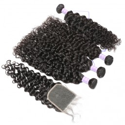 4 Bundles With Lace Closure Virgin Indian Natural Wave Hair