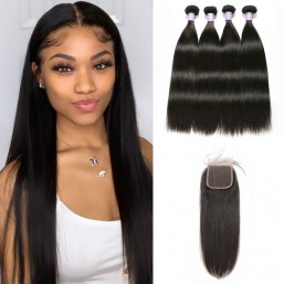 Peruvian 4 Bundles hair With Lace closure