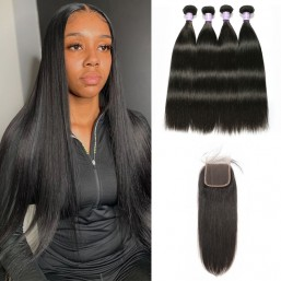 Indian 4 Bundles With Lace closure