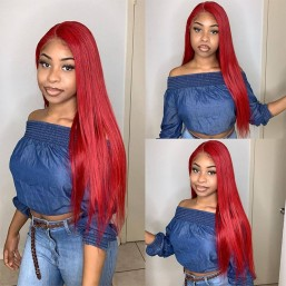 Straight Lace Front Red Hair Pre-plucked Wigs With Baby Hair