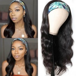 body wave human hair headband wigs