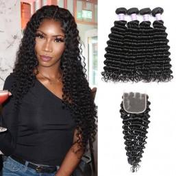 deep wave hair 4 bundles with closure