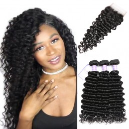Dsoar Hair Deep Wave Peruvian Remy Hair 3 Bundles With Lace