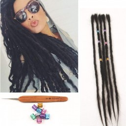 DSoar 40 PCS Human Hair Dreadlock Extensions Natural Black 20 inch