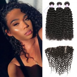 DSoar Hair Indian Curly Hair Weave 3 Bundles Deals With Lace Frontal Free Part