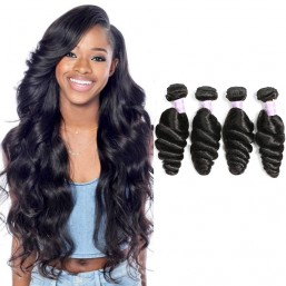 Malaysian Loose Wave Virgin Human Hair Natural Black