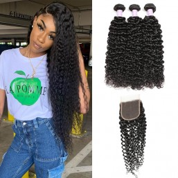 DSoar Hair Virgin Indian Curly Hair Lace Closure With 3 Bundles