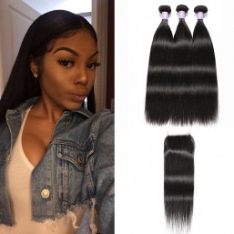 DSoar Indian Remy 3 Bundles Straight Hair Weave With Lace