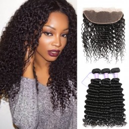 Malaysian Deep Wave Human Hair Lace Frontal