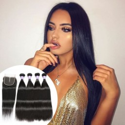 DSoar Straight Hair Sew In Peruvian Human Hair 4 Bundles