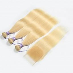 blonde hair bundles with closure
