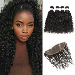 Malaysian curly hair lace frontal