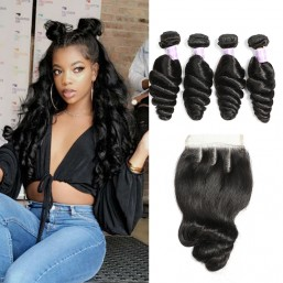 Malaysian Loose Wave Hair 4 Bundles Deals With Lace