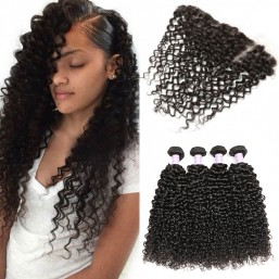 Peruvian curly hair lace frontal