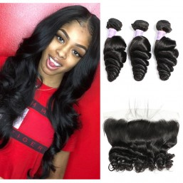 Dsoar Hair Peruvian Loose Wave Virgin Hair Lace Frontal With 3