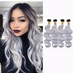 DSoar Hair T1B/Grey Ombre Body Wave Peruvian 4 Bundles Of