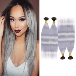 4 Bundles Ombre Long Straight Hair Extensions