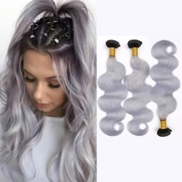 2 Tone T1B/Grey Ombre Body Wave Human Hair