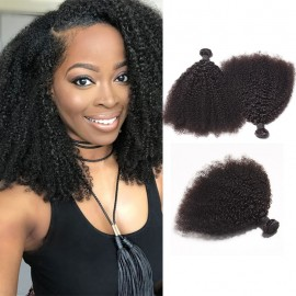 DSoar Hair Peruvian Afro Kinky Curly Hair Extensions 3 Bundle